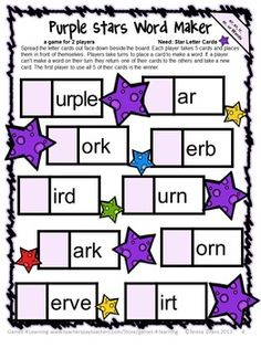 FREEBIE Phonics Game R Controlled Vowels  is a Word Maker Board Game from Games 4 Learning