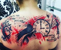 Curious and interesting trash polka tattoo. It combines two things I really like. Bold black ink and red ink contrast. Really awesome. #CuratedTattoos