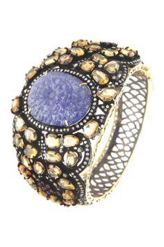14K yellow gold and silver pave diamond halo prong set assorted tanzanite, ruby and sapphire cabachon bangle bracelet