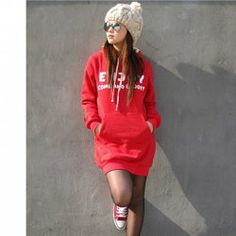 $7.78 New Arrival Words Printed With Hooded Fleeces For Female (Long Style)