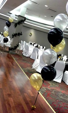 Black Gold Party black, gold and silver balloon decor; decor by Davis Floral Creations Silver Party Decorations, Prom Decor, Birthday Party Decorations, Balloon Decorations, 75th Birthday Parties, 50th Party, Dad Birthday, 50th Wedding Anniversary, Anniversary Parties