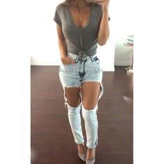 Oversized Ripped High Waisted Denim Jeans - JLUX Label