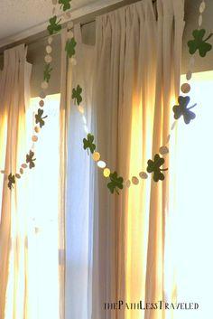 St. Patrick's Day garland - clover shamrocks and vintage circles @ thepathlesstraveled
