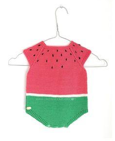 Pelele Sandia de punto DIY - Tutorial y patrón Punto Bebé 4534e8f7dd41
