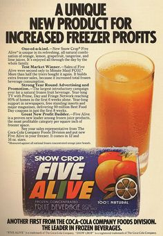 1979 Five Alive- I used to love this stuff! In the 80s of course....I don't remember it being frozen, though.  My mom always had a jug of it in the refrigerator.  We loved it as kids....