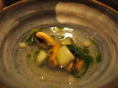 Tuddenham Mill: Mussel broth, with lemon spots, cucumber, stonecrop, buckthorn, dill and a dash of parsley oil