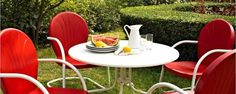 Crosley Griffith 40″ Metal Five Piece Outdoor Dining Set in White/Red