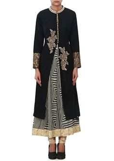 Black suit featuring in cotton with printed lining Its enhanced in zardosi embroidered butti.  Matched with cotton churidar and dupatta in chiffon.  Slight variation in color is possible.   95% of our customers believe that the product is as shown on the website.