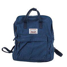 f214db21199 LuckyZ Womens Casual Style Lightweight Canvas Backpack School Bag Travel  Daypack Medium Handbag Purse, Blue