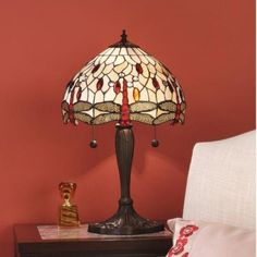 THE BEIGE DRAGONFLY MEDIUM TIFFANY TABLE LAMP