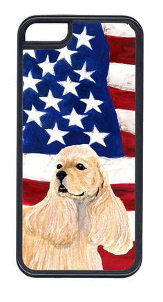 USA American Flag with Cocker Spaniel Cell Phone Cover IPHONE 5C