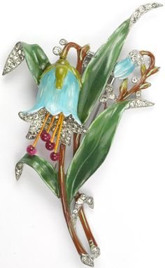 Trifari 'Alfred Philippe' Pave and Enamel Large Bluebell (missing one bud) Pin Clip