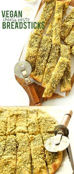 Vegan Pesto 'Parmesan' Breadsticks! Savory, simple and perfect with marinara or alongside pasta #vegan