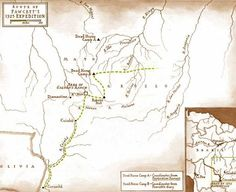 A map of Percy Fawcett's 1925 route through the Amazon.