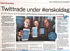 Mitt i Sollentuna skriver om #Runbacka & vårt twittrande under #enskoldag. Kul att det uppmärksammas även analogt.