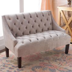 emma tufted sofa dakota corner bed grey rentquest pinterest velvet settee cozy up with this ottoman in silver cream featuring detail on the seat and back winged sides complete look