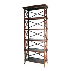 Carved birch bookcase.     Product: BookcaseConstruction Material: Birch woodColor: Brown