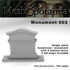 Single mesh monument / headstone/ gravestone with 2 texture faces. How To Apply, Map, Texture, Outdoor Decor, Surface Finish, Location Map, Maps, Patterns