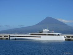 Steve Jobs's mega yacht is anchored in Horta, on Faial Island, this week.  Imagined by Steve Jobs, Apple Inc. co-founder, and designed by the famous naval architect and designer Philippe Starck, the yacht was built in the Netherlands, at Feadship shipyards.