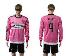 Juventus #4 Caceres Pink Long Sleeves Soccer Club Jersey