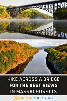Take a scenic stroll across this Massachusetts bridge for an easy hike that you'll never forget. Family-friendly and wheelchair accessible, this short but stunning bridge offers some of the best fall foliage views in the state. It's perfect for photographers and a great way to enjoy our natural beauty. | Beautiful Places | Things To Do | Autumn | Travel | Kid-Friendly | Photoshoot | Nature Best Bucket List, Road Trip Destinations, Hidden Beach, Autumn Scenery, Local Attractions, Rv Travel, Haunted Places, Nice View, Vacation Spots