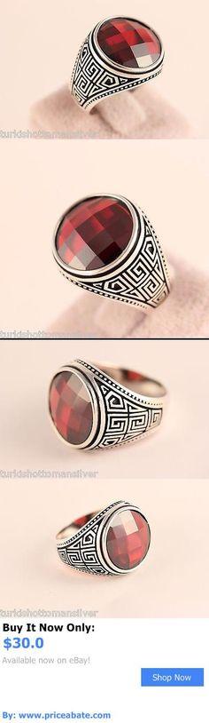 Men Jewelry: Turkish Jewelry Mens Ring Handmade Ottoman Red Garnet 925K Silver Size 10 BUY IT NOW ONLY: $30.0 #priceabateMenJewelry OR #priceabate