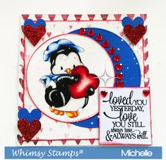 Whimsy Stamps Penguin Love