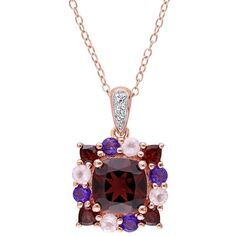 Sterling Silver Garnet & Gemstone Square Pendant ($200) ❤ liked on Polyvore featuring jewelry, pendants, red, garnet pendant, red heart pendant, gemstone pendants, sterling silver charms pendants and heart shaped pendant