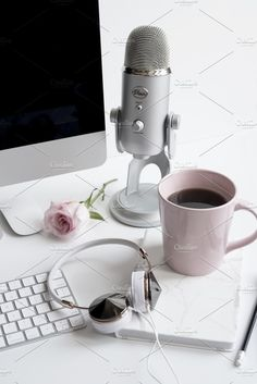 Styled Deskscape,Podcast by Her Creative Studio, Styled stock photo