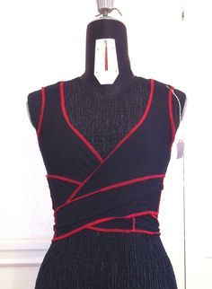 Black and Red Wrap Top Choli Bellydance burlesque Yoga Dance salsa hooping aerial Burning Man Festival Goth Mad max Apocalyptic eco friendly. $30.00, via Etsy.