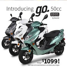 """A reliable, affordable, high-quality scooter for $1099. The """"go."""" 50cc scooter from Chicago Scooter Co.(by Genuine). 100+ mpg with a 1-year/limited parts warranty. In mint, white and titanium."""