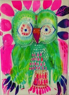 'Pinky' by Jessie Breakwell Colorful Paintings, Bird Paintings, Owl Artwork, Whimsical Owl, Bird Patterns, Animal Projects, Sketchbook Inspiration, Watercolor Bird, Bird Art