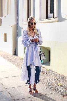 Chloé rainbow sandals, Fendi bag, pompom jeans, blouse dress #mbfwb Streetstyle | More here: http://www.ohhcouture.com/2016/07/mbfwb-looks-berlin/ |