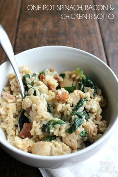 One Pot Spinach, Bacon and Chicken Risotto is a labor of love that screams comfort in every bite!