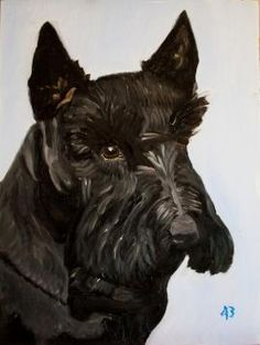 """Former President George W. Bush's beloved, 12-year-old Scottish Terrier Barney died after suffering from lymphoma, the former president announced in a statement today.   """"Barney was by my side during our eight years in the White House,"""" Mr. Bush said. """"He never discussed politics and was always a faithful friend. Laura and I will miss our pal.""""  Along with his statement, Mr. Bush today released a picture of an oil painting of Barney that the former president painted himself."""