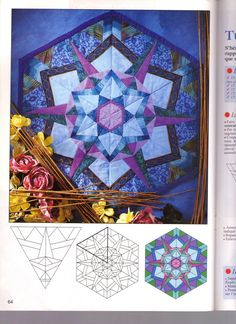 Photo : Geometric Quilt, Hexagon Quilt, Paper Pieced Quilt Patterns, Applique Quilts, Quilting Projects, Quilting Designs, Kaleidoscope Quilt, Stained Glass Quilt, Foundation Paper Piecing