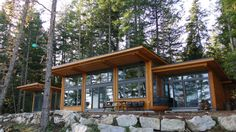Gambier Island - Sunshine Coast BC Project - BC Timber Frame Homes Mountain Home Exterior, Modern Mountain Home, Prefab Home Kits, Prefab Homes, Small Cottage Homes, Cottage Plan, Rancher Homes, Gambier Island, Waterfront Cottage