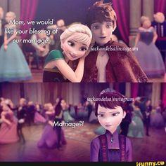What could happen if this is jelsa love this to Funny Disney Jokes, Disney Memes, Disney Films, Disney And Dreamworks, Jelsa, Elsa E Jack, Jack Frost And Elsa, Frozen And Tangled, Disney Frozen Elsa