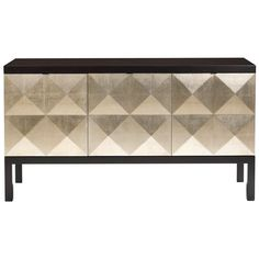 "The Belle Meade Signature Miller sideboard excites with a glamorous pale gold leaf design. Behind the espresso cabinet's raised, diamond-patterned doors, shelves and drawers offer practical storage. 65.875""W x 20""D x 36""H; Espresso luxe finish; Pale gold leaf cabinet doors; Polished, stainless steel hardware; Three concealed storage drawers in center cabinet; Two adjustable shelves in each end cabinet"