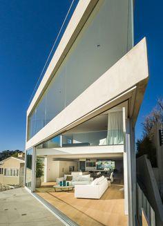 Facade of Sharp modern home on Sunset Strip
