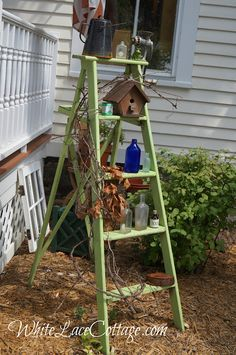 Painted green ladder