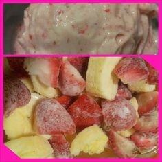 Banana Strawberry Icecream Serves 4 4 frozen bananas 1 cup frozen strawberries 1/4 milk (or more to reach desired consistency) 2+/- tablespoons maple syrup/honey   Process in a food processor or highspeed blender until smooth.  Nom it up!!