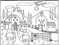 RUG HOOK Crafts PAPER PATTERN Sheep Farm FOLK ART Abstract Primitive KARLA G in Crafts | eBay