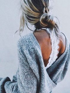 open back sweaters + lace bralettes