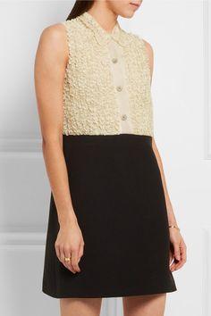 MIU MIU Embellished ruffled lace-paneled silk-organza and cady mini dress | net-a-porter