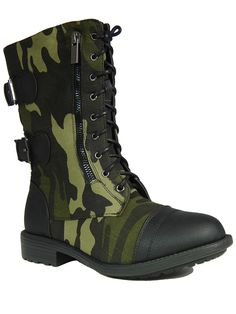 Fab 45 Womens Camouflage Military Lace up Combat boots Green/Black -- You can find out more details at the link of the image.