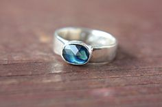 Rose Cut Sapphire Ring Sterling Silver Blue Sapphire Engagement Ring Size 6,5-7 Silversmithed Metalsmithed