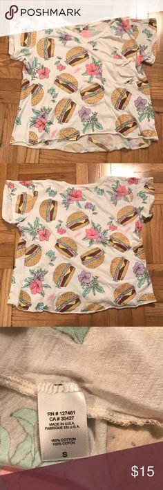 Wildfox hamburger floral printed t shirt Wildfox hamburger floral printed t shirt with v neck and pocket front detail Wildfox Tops Tees - Short Sleeve