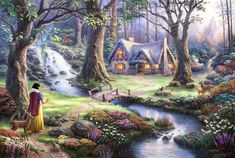 Thomas Kinkade Snow White discovers the cottage art painting for sale; Shop your favorite Thomas Kinkade Snow White discovers the cottage painting on canvas or frame at discount price. Film Disney, Art Disney, Disney Kunst, Disney Movies, Disney Tangled, Magical Paintings, Beautiful Paintings, Oil Paintings, Beautiful Images