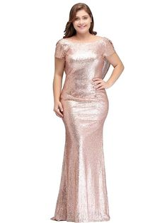 57abf397e7 Plus Size Formal Evening Dress Long Sparkling Sequin Mermaid Celebrity  Mermaid Bridesmaid Dresses